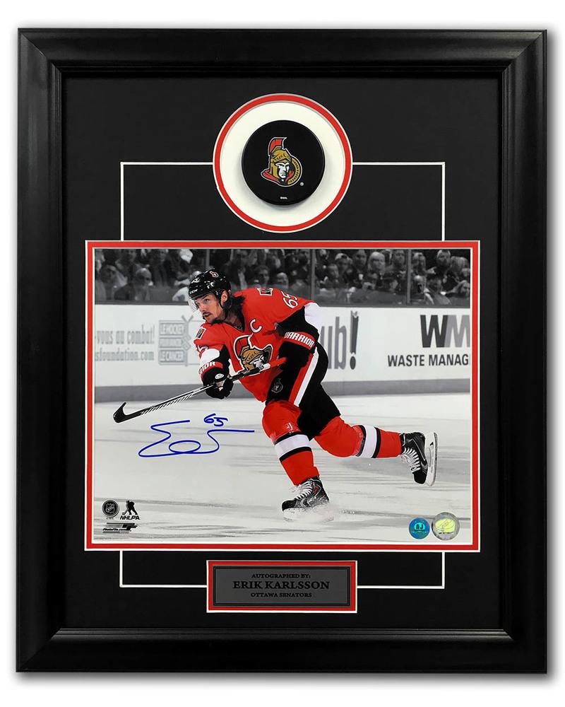 Erik Karlsson Ottawa Senators Autographed Hockey Spotlight 23x19 Puck Frame