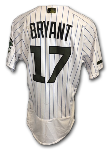 Photo of Kris Bryant Game-Used Memorial Day Jersey -- Bryant 1 for 4 (16th Double, 27th RBI) -- Giants vs. Cubs -- 5/27/18
