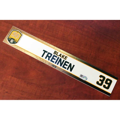 Photo of Blake Treinen 2018 Team-Issued Locker Nameplate