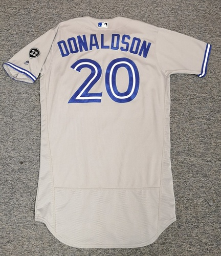 Photo of Authenticated Game Used Jersey - #20 Josh Donaldson (Apr 6, 18: 2-for-5 with 2 Runs and 1 RBI). Size 44.