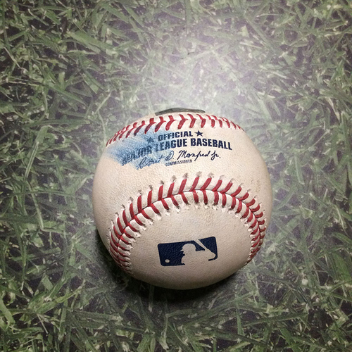 Photo of Game-Used Baseball COL@MIL 08/05/18 - Wade Miley - Nolan Arenado: Strikeout