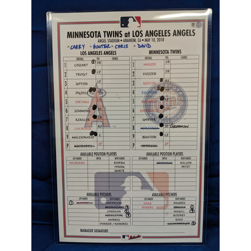 Photo of Game-Used Line Up Card from Shohei Ohtani's 5th Career Home Run Game May 10th 2018