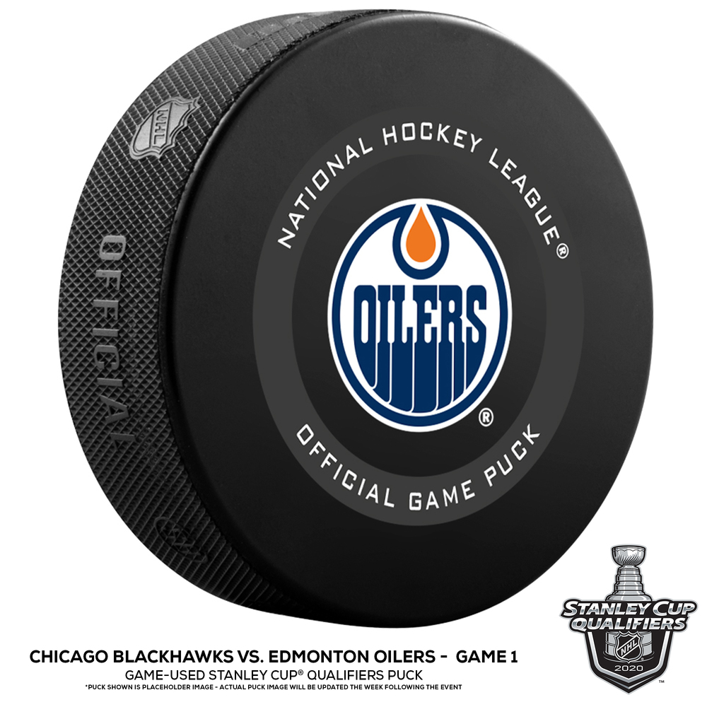 Edmonton Oilers vs. Chicago Blackhawks Game-Used Puck from Game 1 of the 2020 Qualifying Series on August 1, 2020