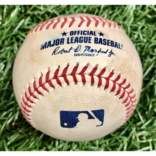 Photo of Game Used Baseball: Austin Meadows Foul Ball off James Paxton - 4 Pitches - August 9, 2020 v NYY