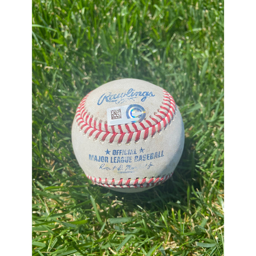 Photo of Cardinals Authentics: Game Used Baseball Pitched by Adam Wainwright to Christian Yelich, Travis Shaw *Yelich Ground out, Shaw Single*