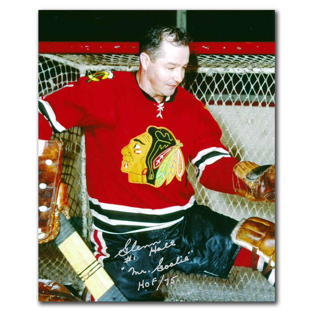 Glenn Hall Chicago Blackhawks CLOSE UP Autographed 8x10