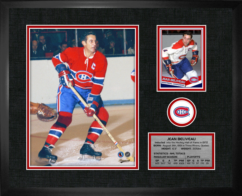 Jean Beliveau - Framed PhotoCard Montreal  Canadiens