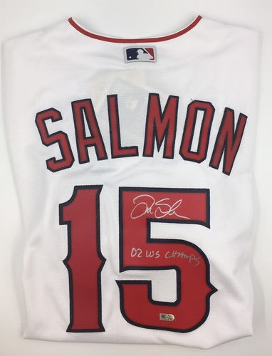 "Photo of Tim Salmon ""02 WS Champs"" Autographed White Angels Jersey (Cooperstown Collection Cool Base)"