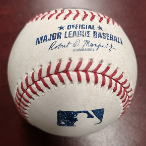 Photo of Authenticated Game Used Baseball - Marcus Stroman Strikeout against Eduardo Nunez. August 7, 2018 vs Boston Red Sox. Top 5.