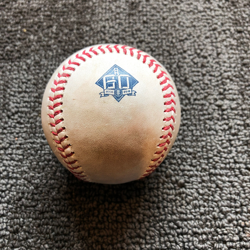 Photo of 2018 San Francisco Giants - Game-Used Ball - 60th Anniversary - Will Smith Strikes Out Wilson Contreras Swinging on 7/9/18