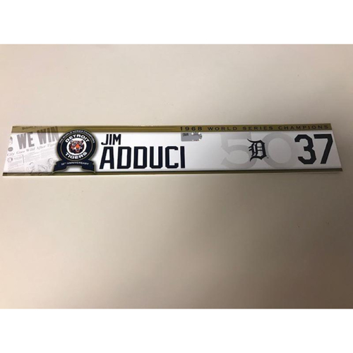 Photo of Game-Used 1968 World Series Champions 50th Anniversary Locker Name Plate: Jim Adduci