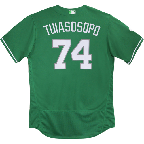 Photo of 2016  Spring Training -  St. Patrick's Day Worn Jersey - Matt Tuiasosopo (Braves) - Size 48