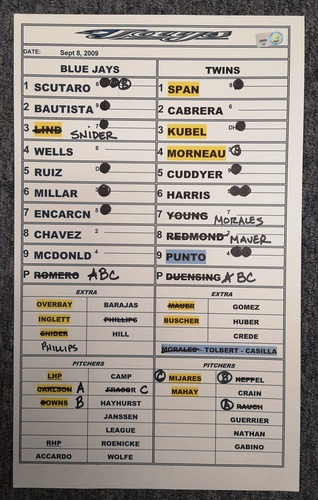 Photo of Authenticated Game Used Lineup Card - September 8, 2009 vs MIN: John McDonald had 3 Hits and 3 RBIs