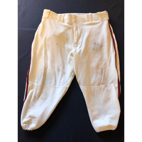 Photo of Yasiel Puig -- Game-Used 1935 Throwback Pants (Starting RF: 1-for-4, HR-12, 2 RBI, R) -- Rangers vs. Reds on June 15, 2019 -- Pants Size 37-42-18