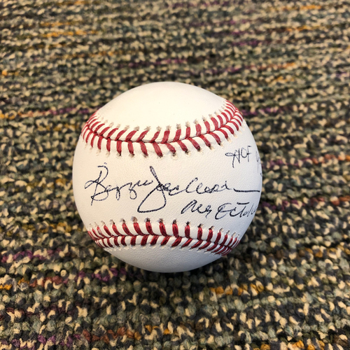 "Photo of Buster Posey BP28 Foundation - Autographed Baseball signed by Hall of Famer Reggie Jackson - Inscribed ""HOF 93"" & ""Mr. October"""
