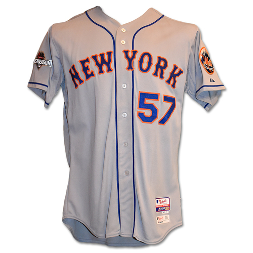 Photo of Kevin Long #57 - Game-Used Road Grey Postseason Jersey - Mets vs. Cubs - NLCS Game 4 - Mets Advance to 2015 World Series - 10/21/15