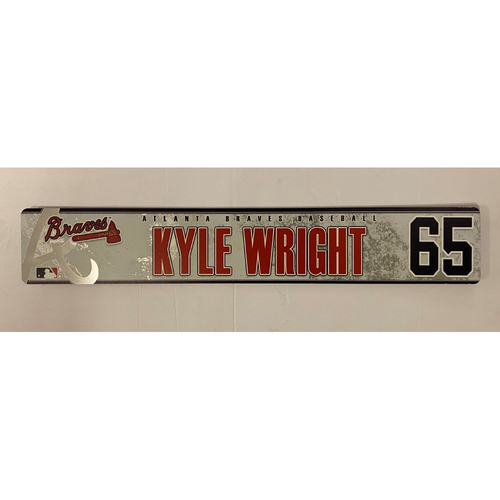 Photo of Kyle Wright 2019 Game Used Locker Nameplate
