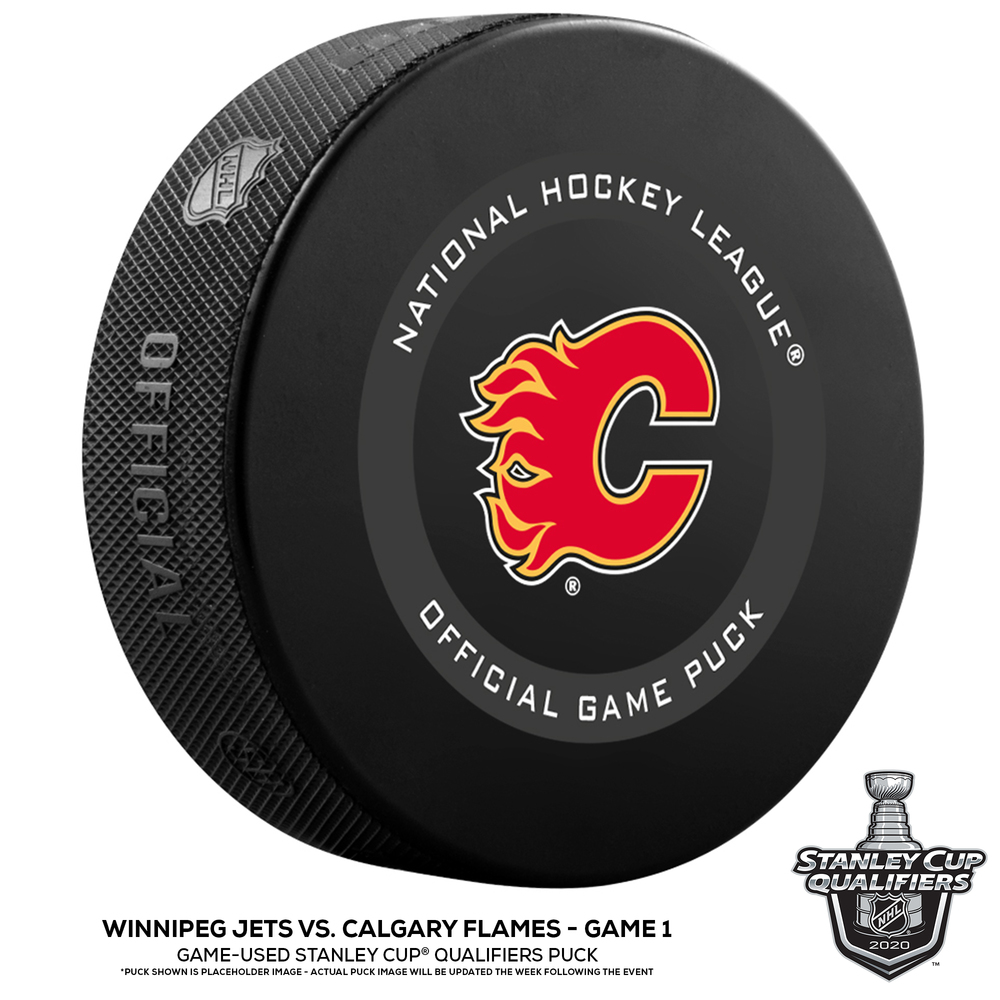 Calgary Flames vs. Winnipeg Jets Game-Used Puck from Game 1 of the 2020 Qualifying Series on August 1, 2020