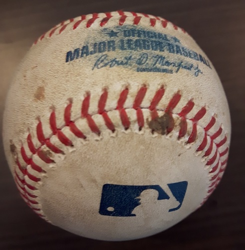 Photo of Authenticated Game Used Baseball - RBI Double by Russell Martin against Matt Andriese. Bottom 4. (April 29, 2017).