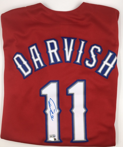 Photo of Yu Darvish Autographed Red Texas Rangers Replica Jersey