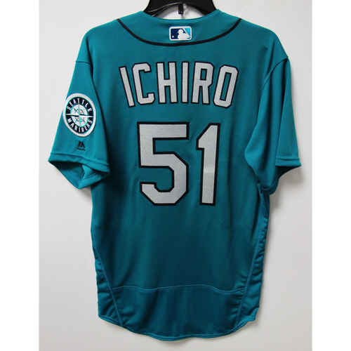 Photo of Seattle Mariners Ichiro Suzuki Team Issued 2018 Green Jersey
