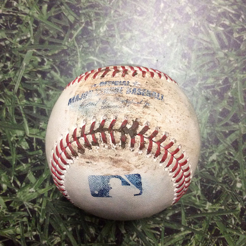 Photo of Game-Used Baseball SD@MIL 08/08/18 - Jhoulys Chacin - Cory Spangenberg: Lineout