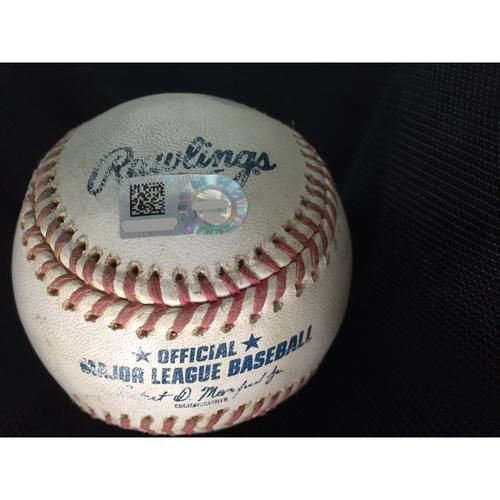 Photo of Game-Used Baseball: 2020 ALDS - Oakland Athletics vs. Houston Astros - Game 4 - Pitcher: Frankie Montas, Batter: Michael Brantley (2-Run Home Run) - Bot 4