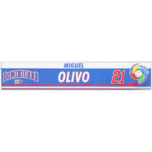 Photo of 2009 WBC: Dominican Republic Game-Used Locker Name Plate - #21 Miguel Olivo