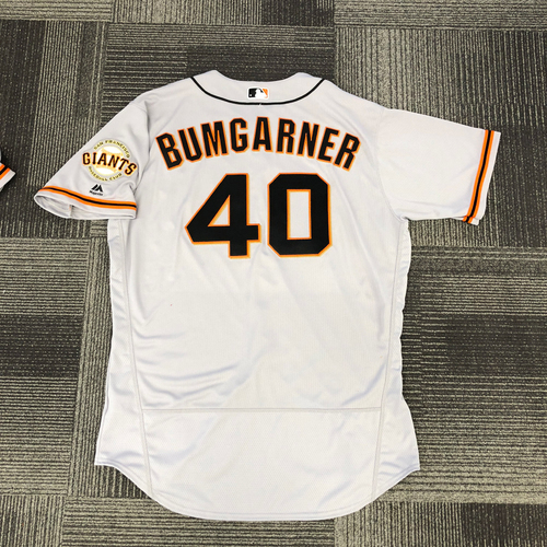 Photo of San Francisco Giants -2017 Game-Used Road Alternate Jersey worn by #40 Madison Bumgarner