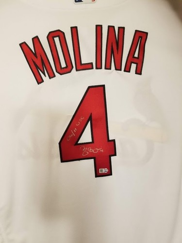 "Photo of Yadier Molina ""06/11 WS Champs"" Autographed Authentic Cardinals Jersey"