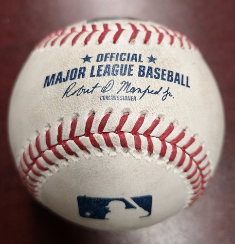 Photo of Authenticated Game Used Baseball - RBI Single by J.D. Martinez against Joe Biagini. August 8, 2018 vs Boston Red Sox. Top 8.