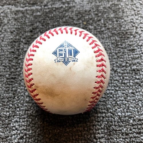 Photo of 2018 San Francisco Giants - Game-Used Ball - 60th Anniversary - Derek Holland Strikes Out Marcus Semien Swinging on 7/14/18