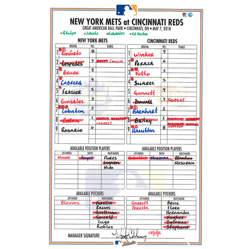 Photo of Game Used Lineup Card - P.J. Conlon MLB Debut; Gsellman Earns 4th Win; Familia Earns 10th Save; Mets Win 7-6 - Mets vs. Reds - 5/7/18