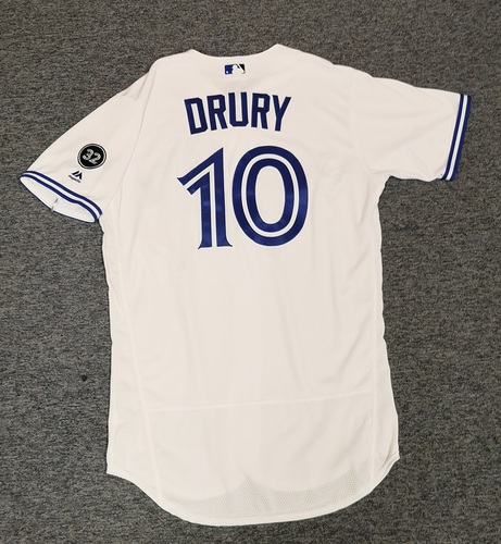 Photo of Authenticated Team Issued Jersey - #10 Brandon Drury (2018 Season). Size 44.