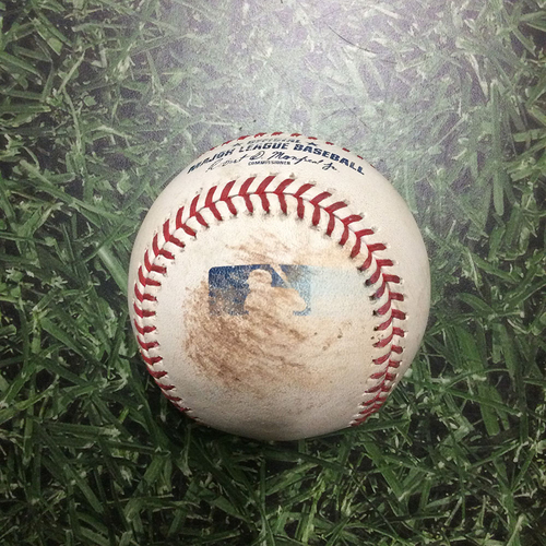 Photo of Game-Used Baseball PIT@MIL 08/25/18 - Jhoulys Chacin - Gregory Polanco: Triple