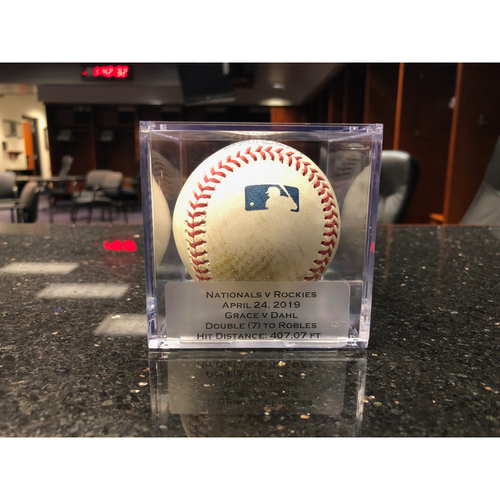 Photo of Game Used Baseball: Pitcher: Matt Grace, Batter: David Dahl (Double) - 4-24-2019 vs. WAS