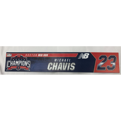 Photo of Michael Chavis Game Used April 28, 2019 Locker Tag