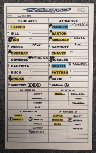 Photo of Authenticated Game Used Lineup Card - April 30, 2010 vs OAK: MLB Debut for Josh Donaldson