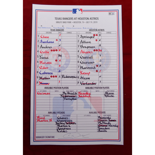 Photo of Game-Used Line-Up Card - Texas Rangers at Houston Astros - 7/19/19
