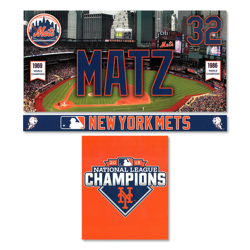 Photo of Steven Matz #32 - Game Used Locker Nameplate Set - Mets vs. Phillies - 4/8/16