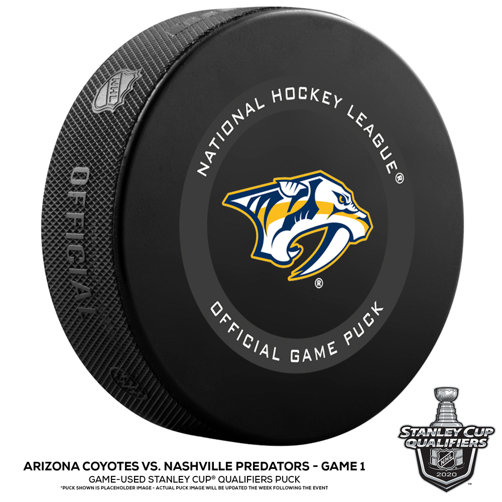 Nashville Predators vs. Arizona Coyotes Game-Used Puck from Game 1 of the 2020 Qualifying Series on August 2, 2020