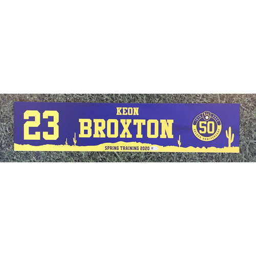 Photo of Keon Broxton 2020 Team-Issued Spring Training Locker Nameplate