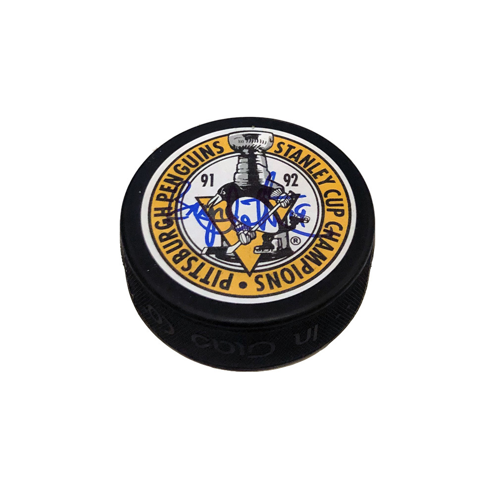 BRYAN TROTTIER Signed Pittsburgh Penguins 91-92 Stanley Cup Champs Puck