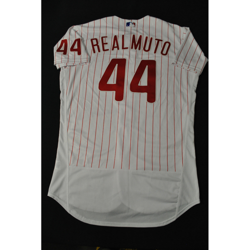 Photo of Hank Aaron Chasing the Dream Foundation: J.T. Realmuto 2021 MLB All-Star Workout Day BP-Worn # 44 Jersey