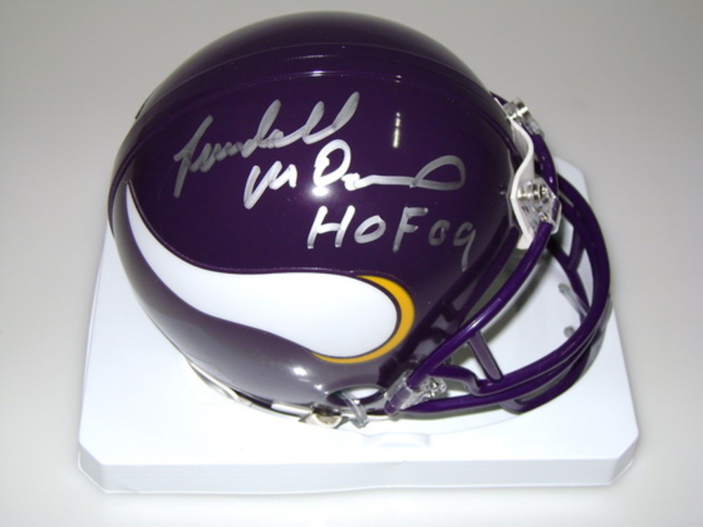 HOF - VIKINGS RANDALL MCDANIEL SIGNED VIKINGS MINI HELMET
