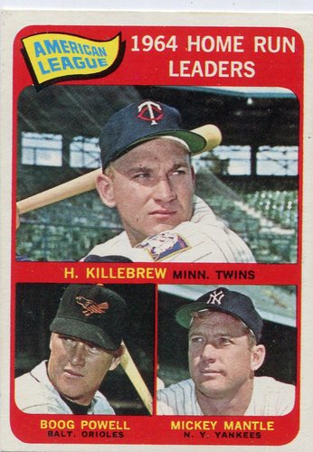 Photo of 1965 Topps #3 AL Home Run Leaders/Harmon Killebrew/Mickey Mantle/Boog Powell