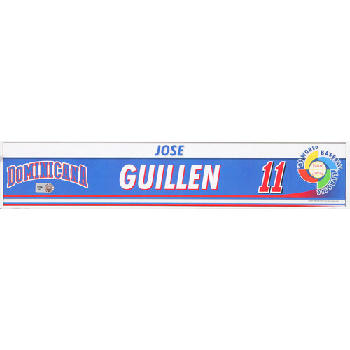 Photo of 2009 WBC: Dominican Republic Game-Used Locker Name Plate - #11 Jose Guillen