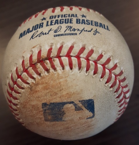 Photo of Authenticated Game Used Baseball - Double by Jean Segura against Leonel Campos. Top 9. (May 13, 2017).
