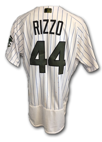 Photo of Anthony Rizzo Game-Used Memorial Day Jersey -- Rizzo 1 for 3 (33rd RBI) -- Giants vs. Cubs -- 5/27/18