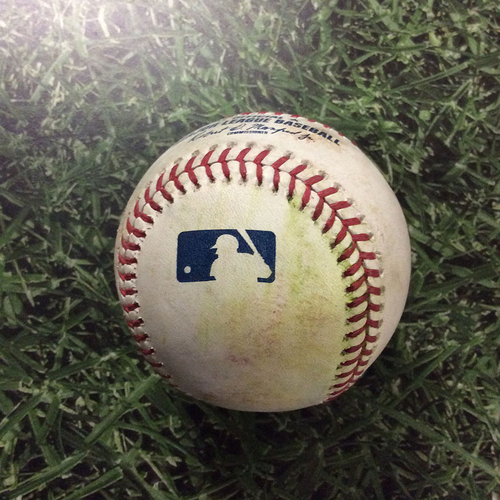 Photo of Game-Used Baseball ATL@MIL  07/08/18 - Dan Jennings - Ronald Acuna Jr: Single
